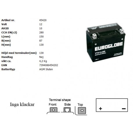 YTX12-BS MC batteri