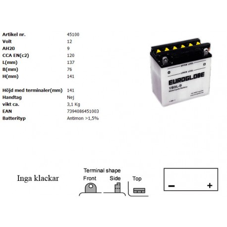 YB9L-B MC batteri