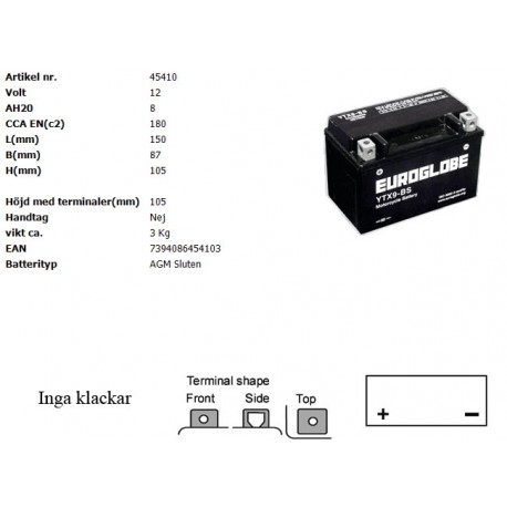 YTX9-BS MC batteri