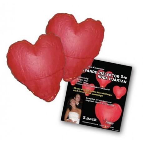 Svävande rislyktor Hjärtan 5-fp