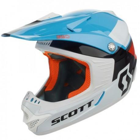 Scott 350 Race barnhjälm, ljusblå/orange/vit/svart